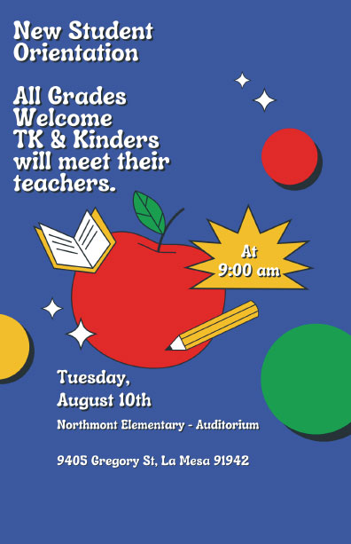 New Student Orientation Tuesday, August 10th at 9 am
