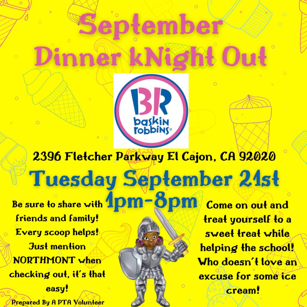 Flyer for September dinner knight out